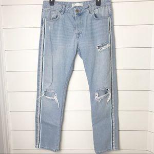 Zara Light Wash Blue Shimmer Strip Mom Jeans